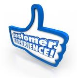 Los pulgares de la experiencia del cliente suben la satisfacción Enjoyme del cliente del símbolo Imagen de archivo libre de regalías