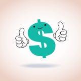Los pulgares de la muestra de dólar suben el personaje de dibujos animados de la mascota Fotografía de archivo