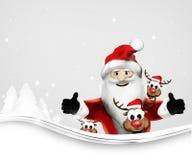 Los pulgares de Santa Claus para arriba les gusta él y de la representación de los renos 3d ilustración del vector
