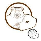 Los pulgares del oso suben y los guiños todos manan los grisáceos Firma todo a la derecha H Fotografía de archivo