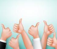 Los pulgares encima de la muestra de Team Hands para aprueban con el espacio blanco para el mensaje Imagen de archivo