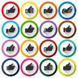 Los pulgares para arriba, fijaron alrededor de los botones Fotos de archivo libres de regalías