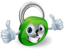 Los pulgares para arriba padlock el personaje de dibujos animados Foto de archivo libre de regalías