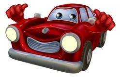 Los pulgares suben la mascota del coche de la historieta Foto de archivo libre de regalías