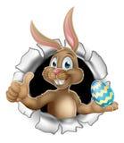 Los pulgares suben Pascua Bunny Rabbit Holding Egg ilustración del vector