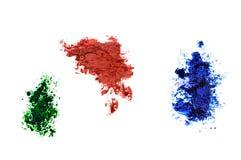 Los puntos de la pintura son verdes, rojo, azul foto de archivo libre de regalías
