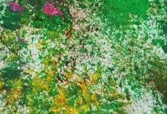 Los puntos grises rosados amarillos verdes ponen en contraste el fondo de pintura de la acuarela, acrílico de la acuarela que pin foto de archivo