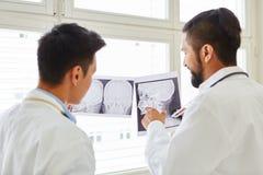 Los radiólogos discuten diagnóstico de la imagen de la radiografía imagen de archivo libre de regalías