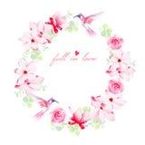 Los ramos, los pájaros y la boda florecientes del vector de los arcos diseñan el marco Fotos de archivo libres de regalías