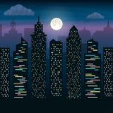 Los rascacielos de la ciudad grande en claro de luna Paisaje de la ciudad de la noche Ejemplo plano del vector stock de ilustración