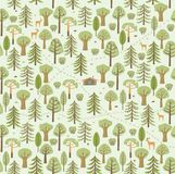 Los rastros, rastros de animales, arbustos, bayas, setas componen un modelo hermoso del bosque del verano ilustración del vector