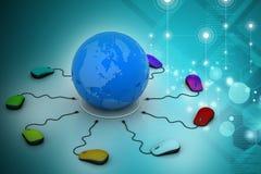 Los ratones del ordenador están conectados alrededor del globo Imagen de archivo libre de regalías