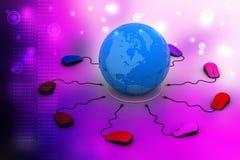 Los ratones del ordenador están conectados alrededor del globo Fotos de archivo libres de regalías