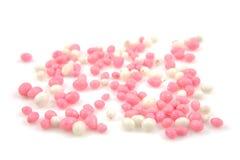 Los ratones rosados y blancos asperjan Imagen de archivo