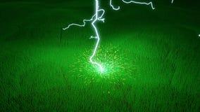 Los rayos pegan la tierra con volar de las chispas libre illustration