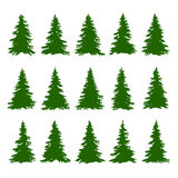 Los árboles de la conífera fijaron en el fondo blanco para hacer a Forest Backgrounds Vector Imágenes de archivo libres de regalías