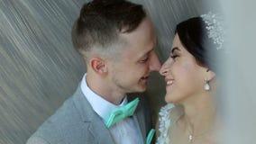 Los recienes casados cariñosos felices se colocan en un abrazo cerca de la ventana y se besan suavemente almacen de video