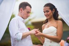 Los recienes casados en boda llevan los anillos de bodas cada foto de archivo