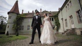 Los recienes casados están caminando en el parque cerca del castillo grande Novia hermosa con el novio hermoso metrajes