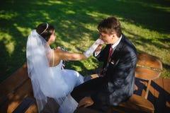 Los recienes casados felices fotografía de archivo libre de regalías