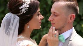 Los recienes casados felices en paseo del amor en un parque verde del verano, se colocan de abrazo almacen de metraje de vídeo