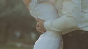 Los recienes casados hermosos se gozan en un parque metrajes