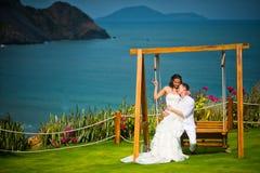 Los recienes casados se sientan en un oscilación en el fondo de un paisaje increíblemente hermoso fotos de archivo