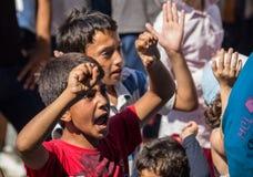 Los refugiados protestan contra la estación de tren de Keleti en Budapest Fotografía de archivo libre de regalías
