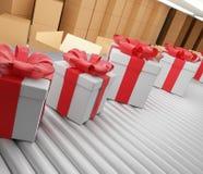 Los regalos de Navidad reman en la banda transportadora 3d-illustration stock de ilustración