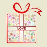 Los regalos del amor significan el presente y sorpresas envueltos Imágenes de archivo libres de regalías