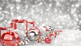 Los regalos y las chucherías de la Navidad roja y blanca se alinearon la representación 3D Foto de archivo libre de regalías
