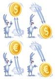 Los relojes divertidos del conejo como dólar y euro se elevan para arriba y caen abajo Imagenes de archivo