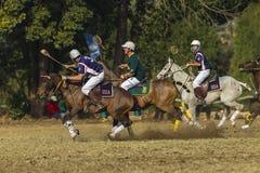 Los resbalones del caballo del mundial de PoloCrosse recuperan la acción Imágenes de archivo libres de regalías