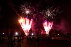 Los residentes de la ciudad están mirando los fuegos artificiales coloridos de la noche fotos de archivo libres de regalías