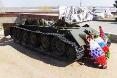 Los restos de un tanque de batalla T-34 foto de archivo libre de regalías