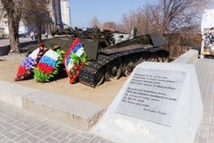 Los restos de un tanque de batalla T-34 fotos de archivo libres de regalías