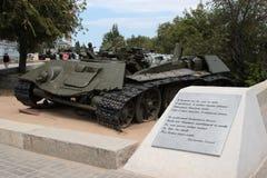 Los restos de un tanque de batalla T-34 foto de archivo