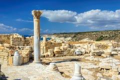 Los restos de un templo griego antiguo y magnífico en Chipre foto de archivo
