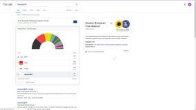 Los resultados de elecci?n del parlamento de la uni?n europea muestran en la p?gina web de Google en 2019 4K metrajes