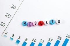 Los resultados redactan en azul Tenga éxito el éxito empresarial, sea un ganador en elecciones, encuesta del estallido o los depo imagenes de archivo