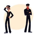 Los retratos integrales de dos pilotos en negro uniforman Imagen de archivo