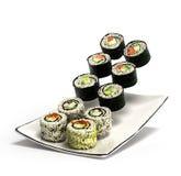 Los rollos de sushi sirvieron en una placa 3d rinden Imagen de archivo