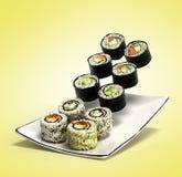 Los rollos de sushi sirvieron en una placa 3d rinden en pendiente Imágenes de archivo libres de regalías