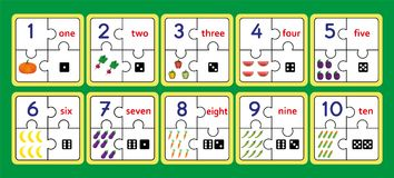 Los rompecabezas de cuenta imprimibles, trabajo del rompecabezas de la tira del número equipan el rompecabezas, contando numeran  stock de ilustración