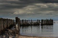 Los rompeolas en el mar Báltico Foto de archivo libre de regalías