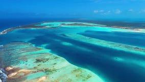 Los Roques, Caraïbische overzees Satellietbeeld van paradijseiland met kristalwater stock videobeelden