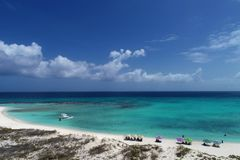 Los Roques, Carribean sea. Aerial view of paradise island with crystal water. stock photo