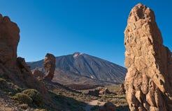 Los Roques De Garcia And Volcano Teide Stock Photography