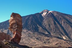 Los Roques de Garcia and volcano Teide Royalty Free Stock Image