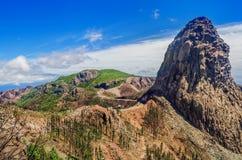 Los Roques & x28; Il Rocks& x29; dopo un fuoco, La Gomera, isole Canarie, Spagna Conseguenze di un fuoco Immagini Stock